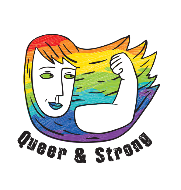 Logotyp projektu Queer and Strong. Przedstawia kobietę o długich tęczowych włosach, z ręką zgiętą w geście siły.