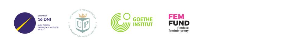 Belka z logotypami Kampami 16 dni, Goethe Institut Kraków, Uniwersytetu Pedagogicznego w Krakowie i Funduszu Feministycznego.