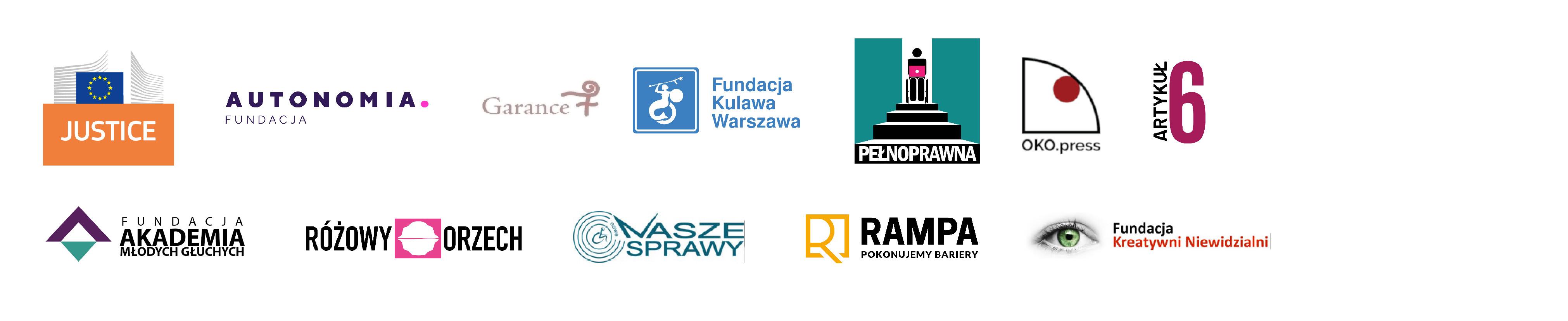 Belka z logotypami projektu Nie znaczy nie – przeciwdziałanie przemocy wobec kobiet z niepełnosprawnościami