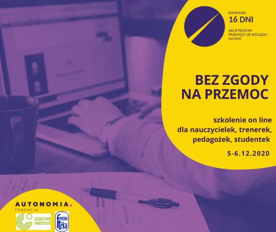 """Grafika promująca szkolenie online dla nauczycielek, trenerek, pedagożek i studentek """"Bez zgody na przemoc"""""""