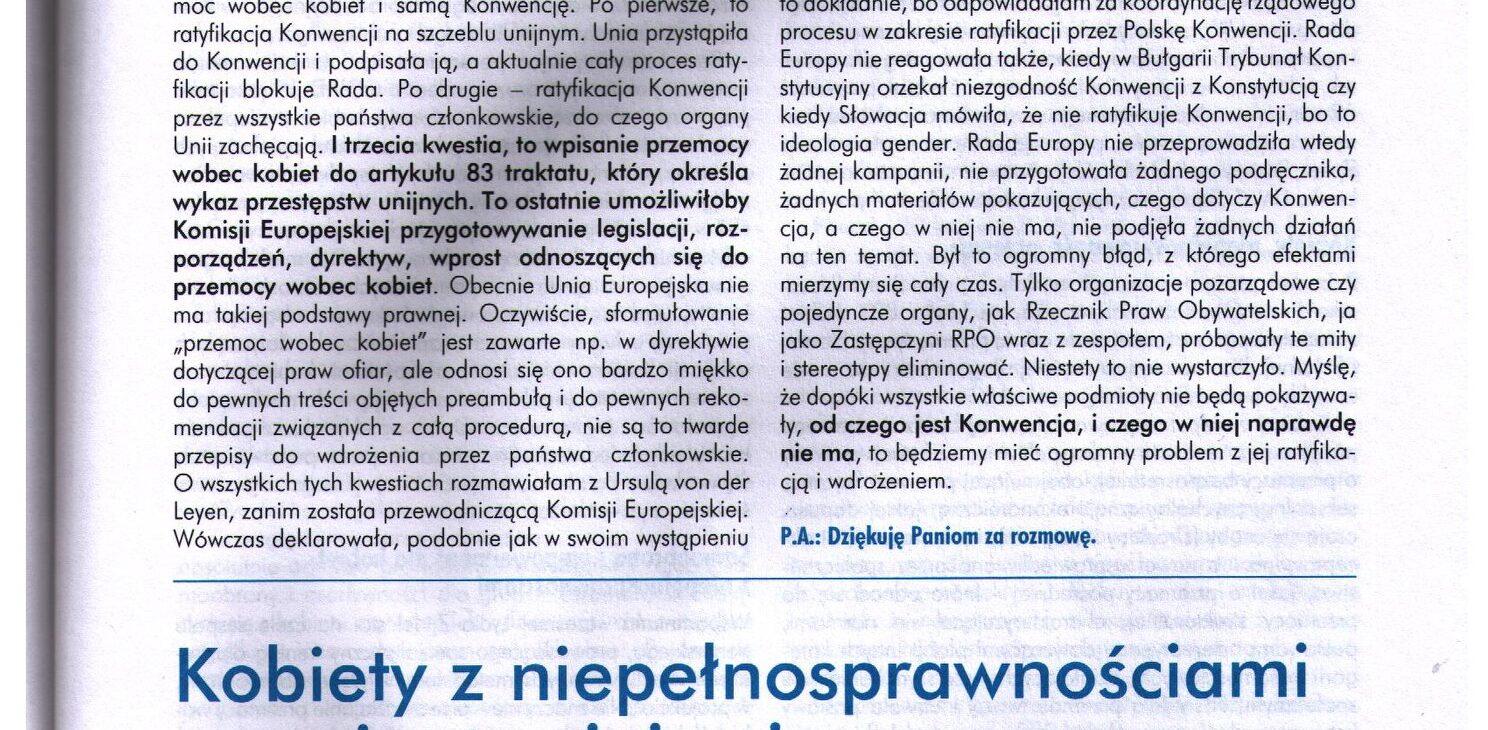 Skan czasopisma Niebiska Linia z nagłówkiem tekstu Agaty Teutsch.