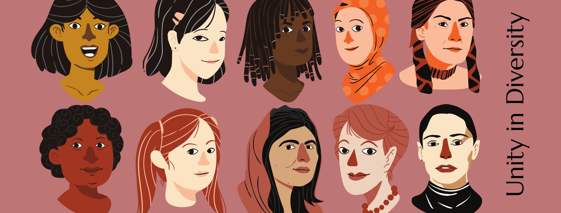 Grafika promująca projekt. Na bordowym tle znajdują się rysowane postacie dziesięciu kobiet o odmiennym pochodzeniu, wieku i kolorze skóry. W prawym dolnym rogu tytuł projektu: Unity in Diversity