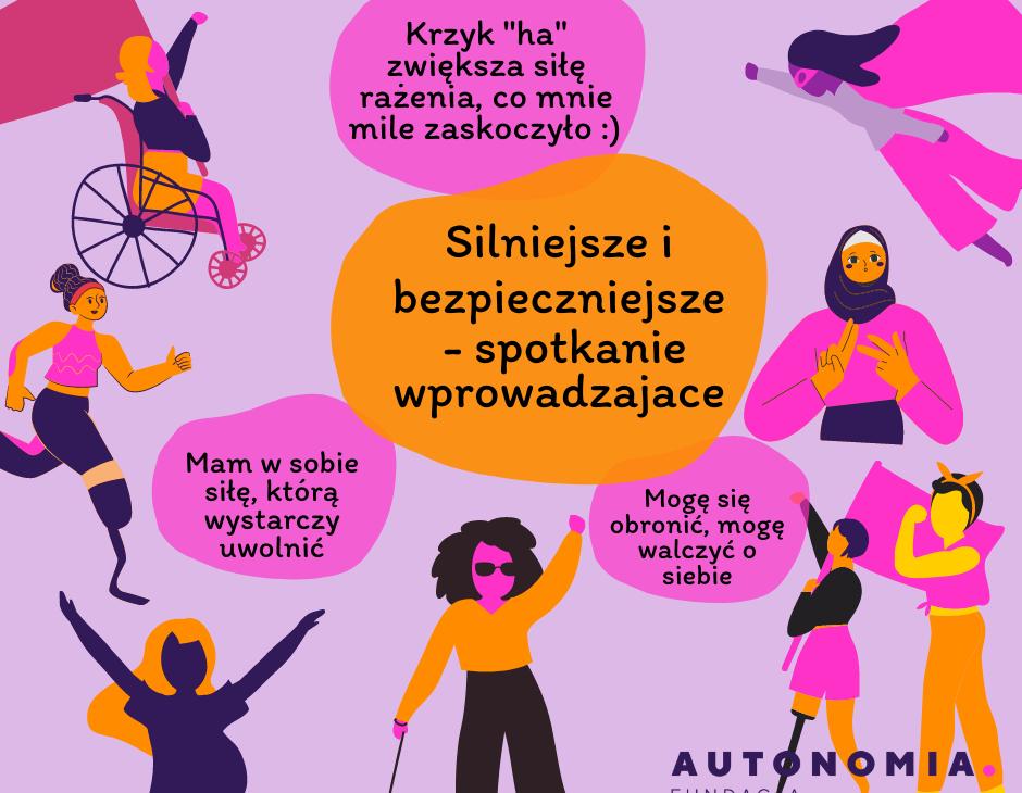 """Grafika z postaciami różnych kobiet: na wózku, z protezą nogi, z laską, migającą, z niewidocznymi niepełnosprawnościami. teksty: 1. Silniejsze i bezpieczniejsze - spotkanie wprowadzające. 2. Mam w sobie siłę, którą wystarczy uwolnić. 3. Mogę się obronić, mogę walczyć o siebie. 4. Krzyk """"ha"""" zwiększa siłę rażenia, co mnie mile zaskoczyło."""