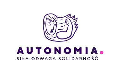 """logo Autonomii z Siłaczką i tekstem """"Siła-odwaga-solidarność"""""""